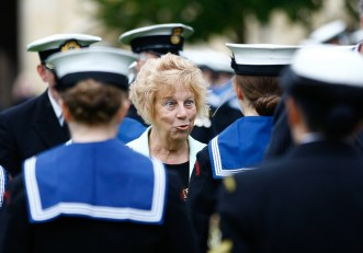 Councillor Ann Taylor inspects the cadets. Sea cadets' Trafalgar Day parade.