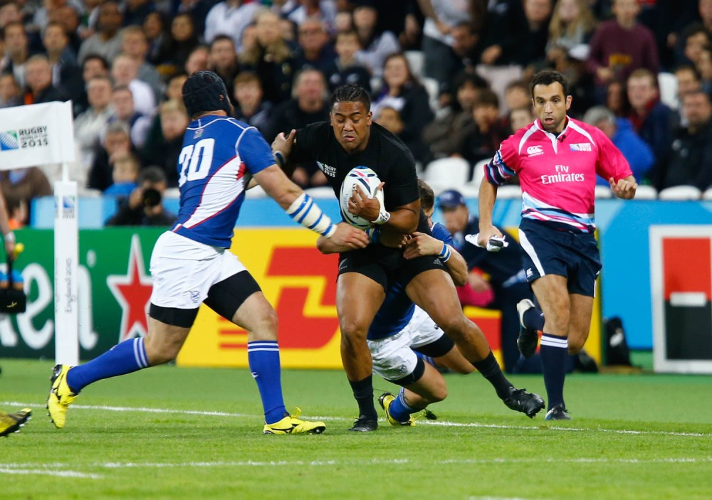 Rugby World Cup, England 2015 - The Kiwis didn't have it all their way as New Zealand's Centre Sonny Bill Williams finds out. Rugby World Cup group game from Pool C between New Zealand and Namibia at Olympic Stadium. (c) Matt Bristow