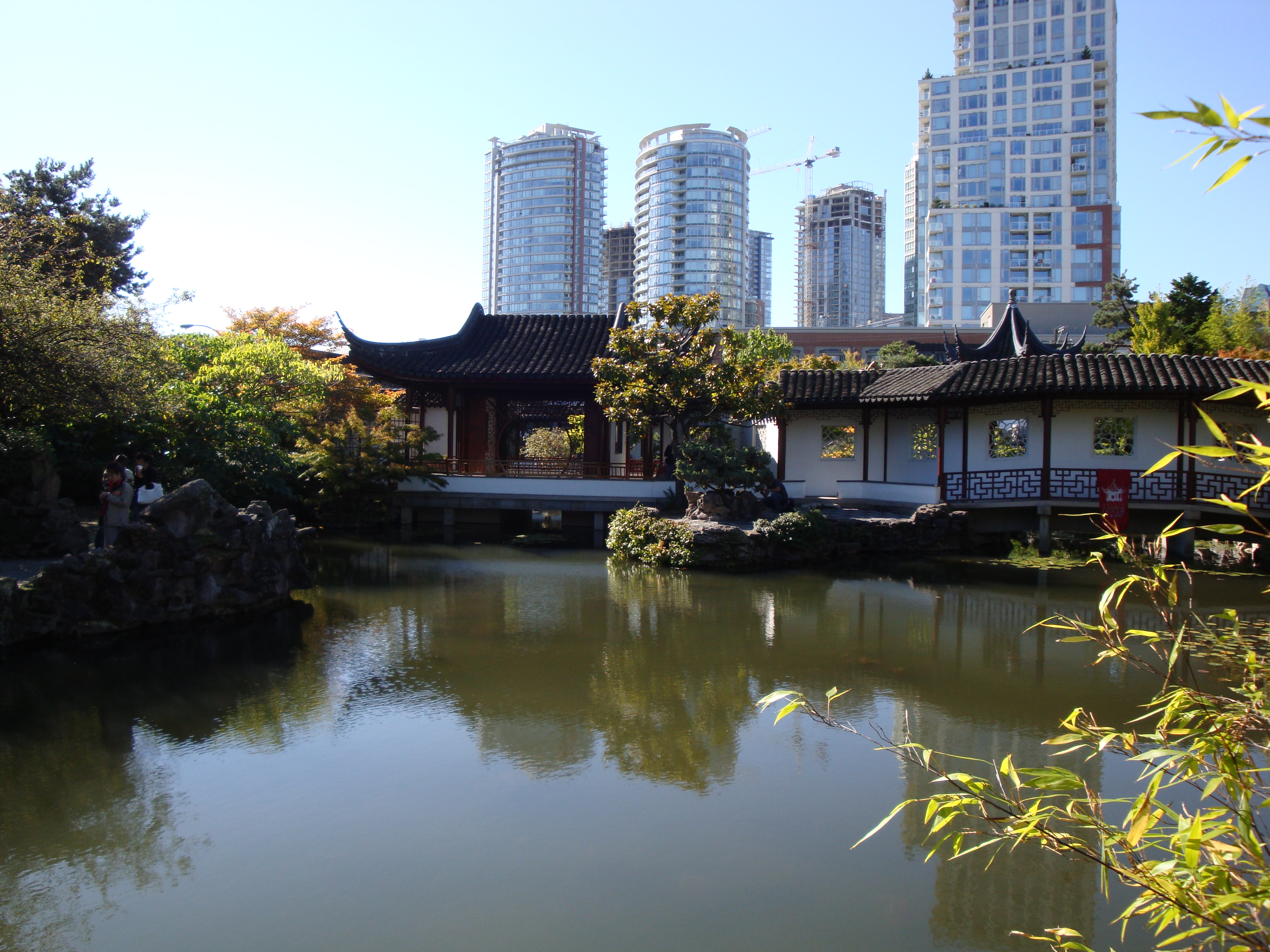 Dr. Sun Yat-Sen Park with the City of Glass rising above.