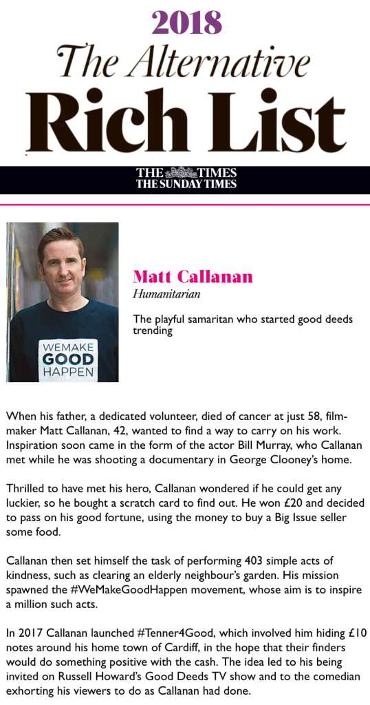 Sunday Times Alternative Rich List Matt Callanan
