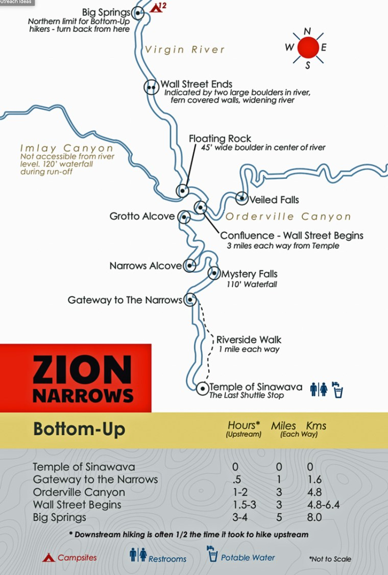 Map of the Zion Narrows section of Zion National Park