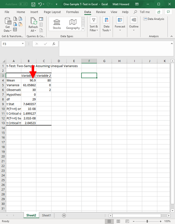 One Sample T Test In Excel Dr Matt C Howard
