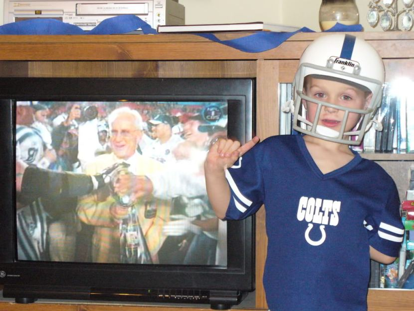 Celebrating the Colts receiving the Vince Lombardi Trophy Colts Super Bowl Champs