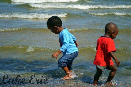 Playing in Lake Erie
