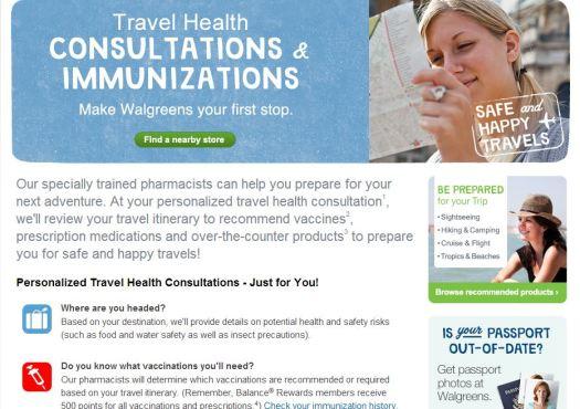 Walgreens #HealthcareClinic Travel Health Consultations and Immunizations screenshot #shop