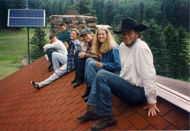 Beaubien Crew sitting on top of our cabin at Philmont Scout Ranch in Cimmaron New Mexico