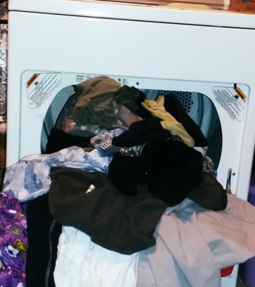 spilling out of dryer