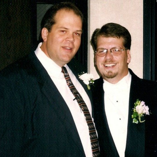 Todd Bussey with me before my wedding, 1998