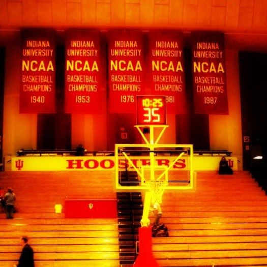 Indiana's banners hanging at Assembly Hall
