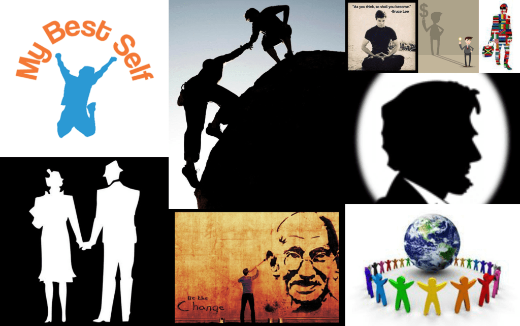Collage of Matt's Vision Images - Marriage, Best Self, Gandhi, Lincoln, Friends, World Health, Bruce Lee, Idea/Finance Guy