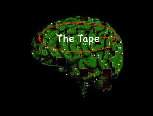 Picture of a brain with a circuit board for skin and the Tape inside.