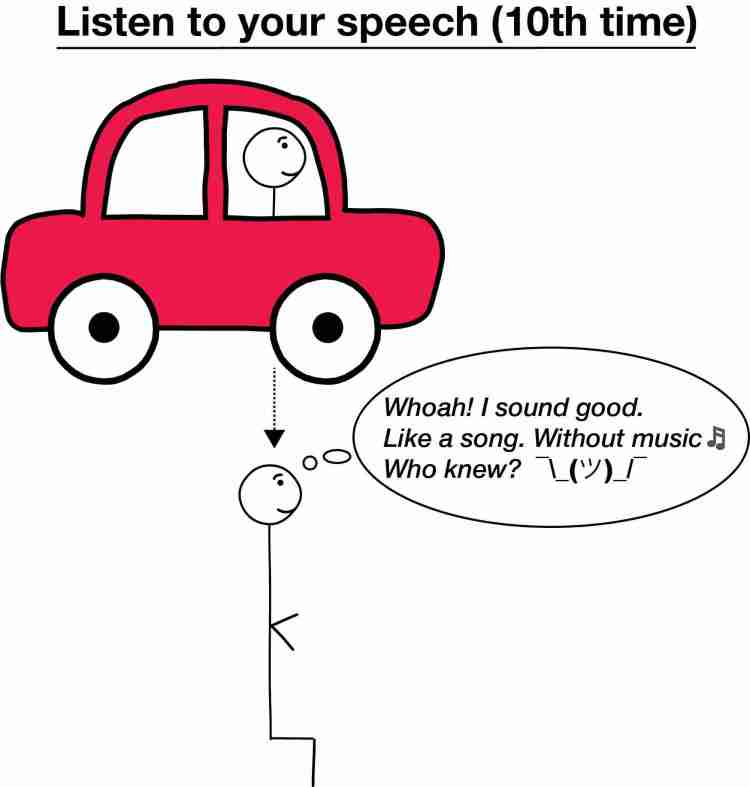 Stick Figure Listening To Speech For Tenth Time And Happy With The Results