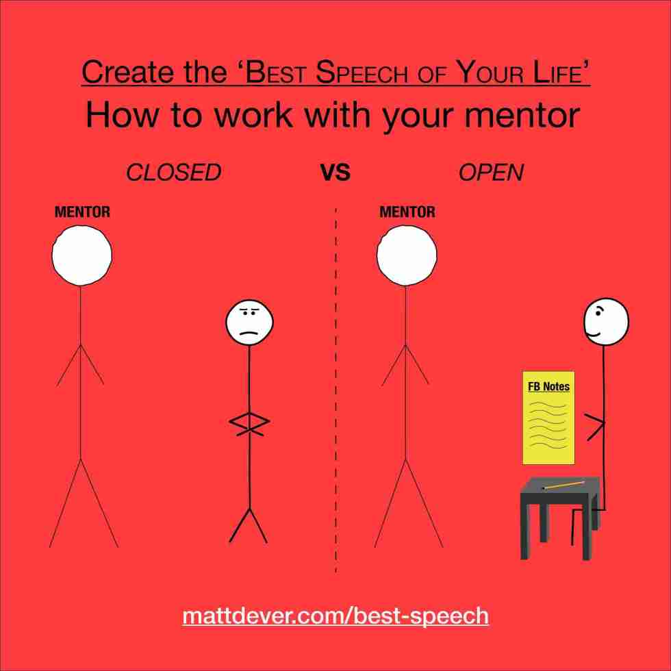 How to work with your mentor: stick figure on left with arms crossed closed-minded and stick figure on right sitting taking notes open-minded