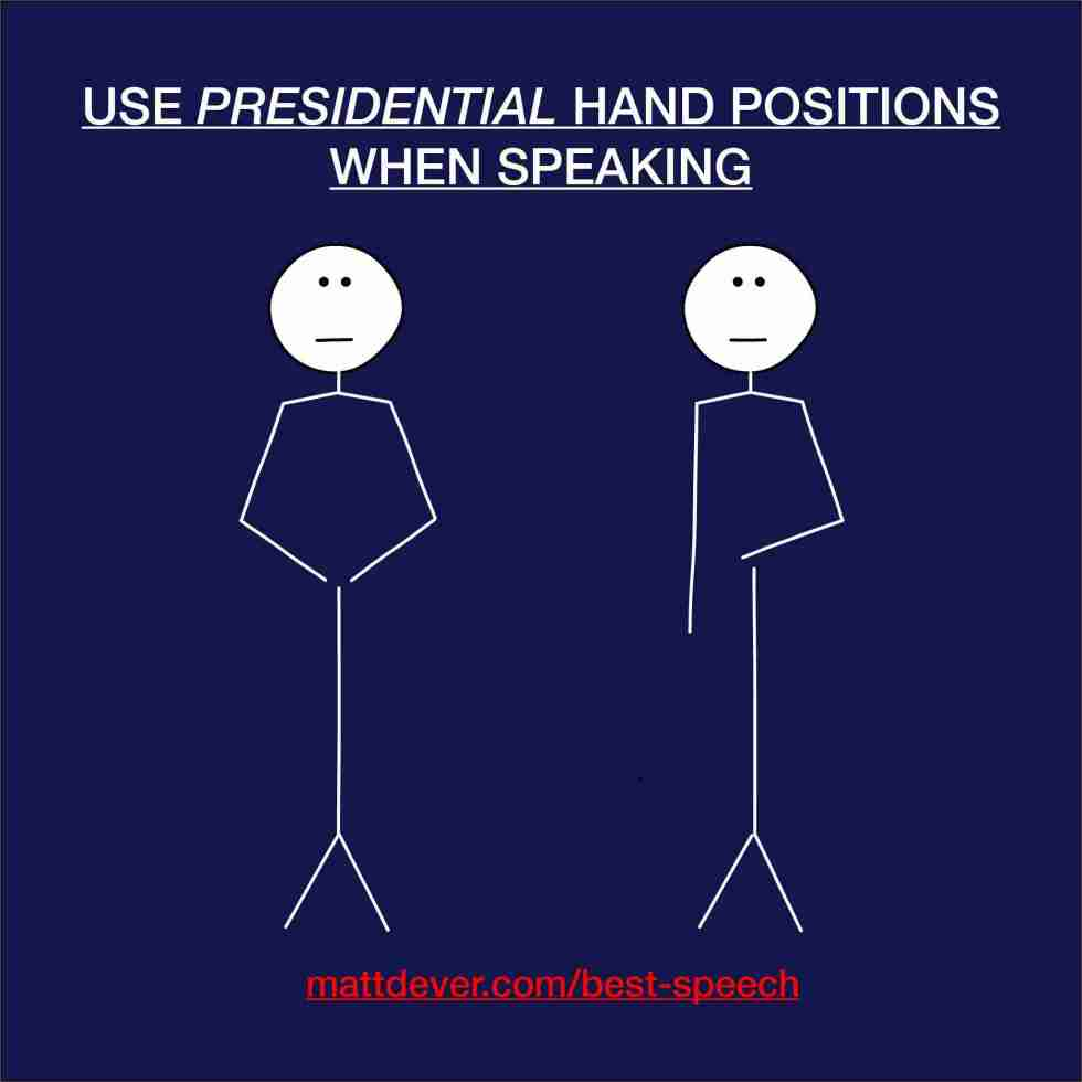 Two stick figures showing presidential hand positions, one with hands lightly touching at belly button and one with one arm straight at side and one hand holding belly