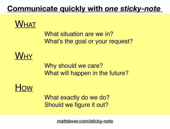 Sticky note with specific questions for what, why, and how