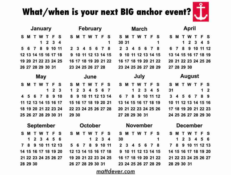 "yearly calendar asking, ""what/when is your next BIG anchor event?"""