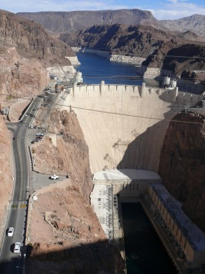 Hoover Dam seen from the Pat Tillman Bridge