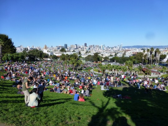 Dolores Park on a Sunday in February