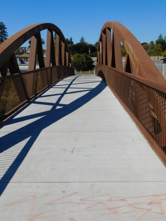 new steel pedestrian bridge over the Petaluma River