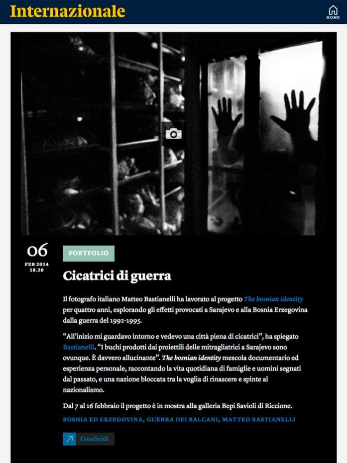 "February 2014 - ""The Bosnian Identity"" featured on Internazionale's website."