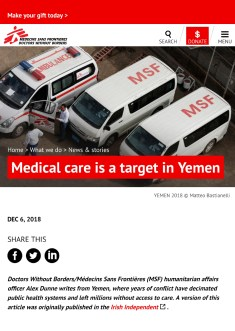 December 2018- Pictures and videos realized on assignment for Doctors Without Borders/Médecins Sans Frontières in Yemen, published in their latest articles and campaigns on the web.