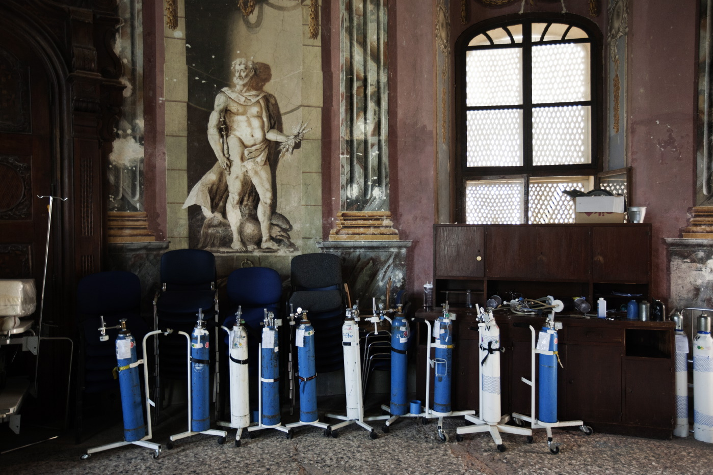 Oxygen's cylinders in a depicted room of the ex-Castle. Gornja Bistra, Croatia 2009. © Matteo Bastianelli