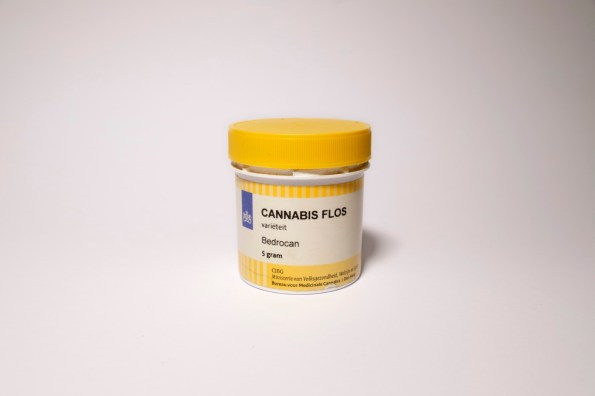 """A jar of Bedrocan, a medicinal cannabis product belonging to a patient with a regular prescription, at the """"Canapa caffè"""". Rome, Italy 2016. © Matteo Bastianelli"""