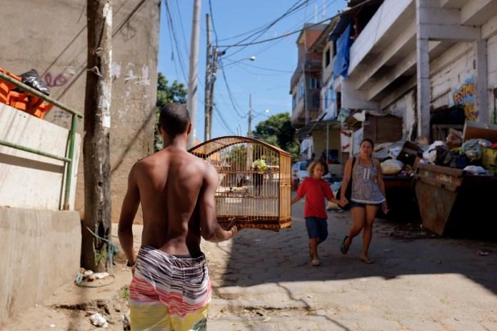 A guy walks through the favela of Cantagalo carrying a birdcage. Rio de Janeiro, Brazil 2015. © Matteo Bastianelli