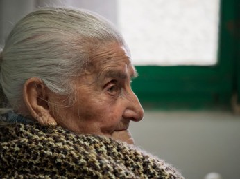 100-year-old Chiarina Lai at home. Chiarina is one of the 360 Sardinian centenarians, one of the places where people live longer than anywhere else on earth. Dolianova, Italy 2015. © Matteo Bastianelli