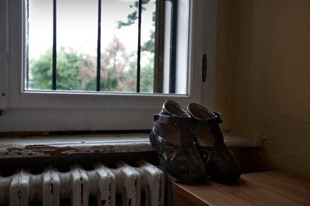 Several pairs of shoes go unworn for days, even months. Between one visit and another many parents forbid volunteers to carry out any kind of activity with their children; therefore, preventing them from leaving their room during their parents absence. Gornja Bistra, Croatia 2009. © Matteo Bastianelli
