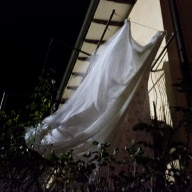 Sheets hung out on the balcony of Pontani's house. Norcia, Italy 2016. © Matteo Bastianelli