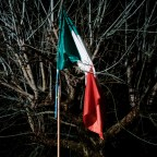 An Italian flag stuck in the branches of a tree. Cascia, Italy 2016. © Matteo Bastianelli