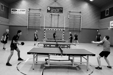 23-year-old Syrian refugee Mohamad Al Masalmeh trains with his table tennis teammates at the sports centre in the city. Warstein, Germany 2016. © Matteo Bastianelli