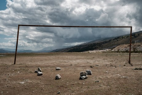 A football door on a field in Lazarat. The village was known as the European capital of cannabis until 2014, when a major raid carried out by the Albanian government destroyed the local production and trafficking. Lazarat, Albania 2017. © Matteo Bastianelli