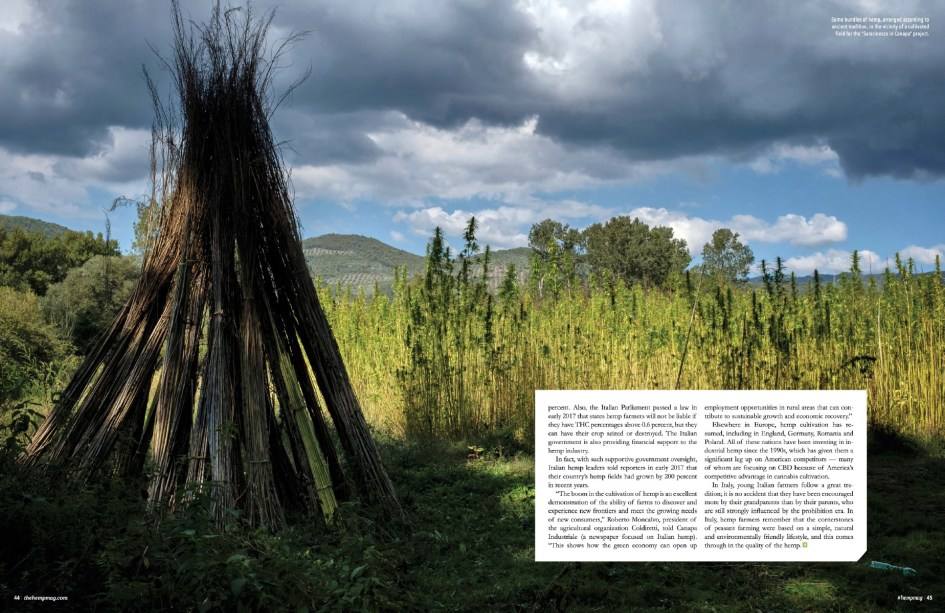 """January 2018 - My long-term project """"Green Gold"""" published as cover story on Hemp magazine in the USA."""