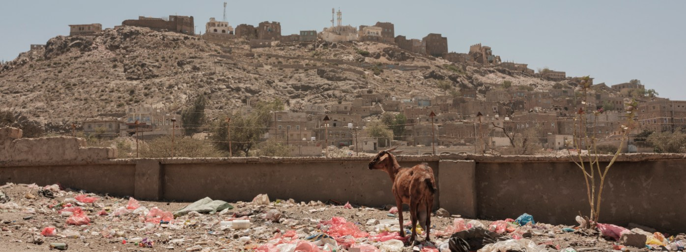 A goat is seen among the garbage, in the background a view of the surrounding village. The ongoing war and a blockade on essential goods has caused the widespread disruption of markets and the provision of basic public services, such as waste management, electricity and water supply. Ad Dhale, Yemen 2018. © Matteo Bastianelli