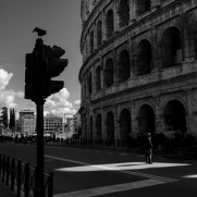 A view of the half-empty street surrounding the Flavian Amphitheater. Following the measures for the containment of the epidemiological emergency from COVID-19 disposed by the Prime Ministerial Decree of 8 March 2020, tourism has fallen drastically in the capital city. Rome, Italy 2020. © Matteo Bastianelli