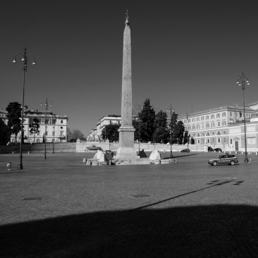 """The empty Piazza del Popolo square. The streets in the city centre are deserted, after the Prime Ministerial Decree """"I stay home"""" disposed that people shouldstay home except forwork needs, situations of necessity and health reasons. Rome, Italy 2020. © Matteo Bastianelli"""
