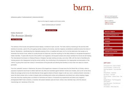 "September 2010 - EPF 2010 - ""The Bosnian Identity"" published on Burn magazine's website"