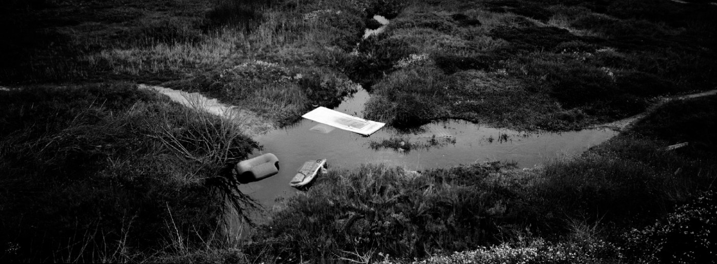 Large waste items dumped on an unauthorized area in the Molentargius-Saline Regional Park: wetland of international interest, in accordance with the Ramsar Convention and Special Protection Area. Quartu Sant'Elena, Italy 2015. © Matteo Bastianelli