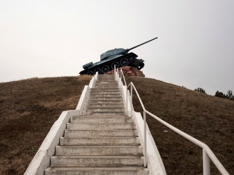 A Russian tank on the hillside in the Dubăsari district, where hundreds of Russian soldiers died to free the territory from the Nazis during the Second World War. Unrecognised by all UN member states, the autonomous region of Transnistria has been claimed by Moldova. Dubăsari District, Transnistria (Moldova) 2014. © Matteo Bastianelli