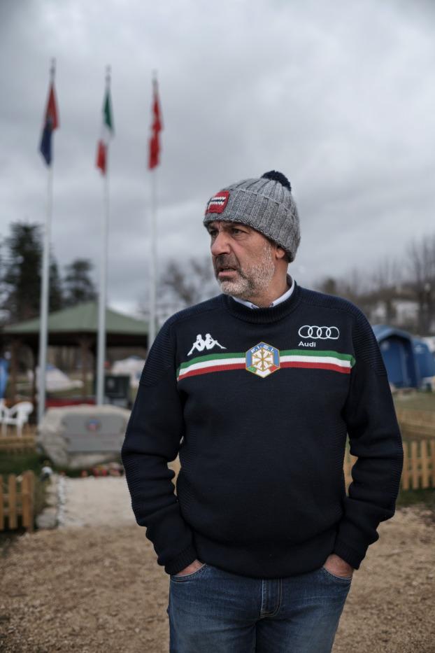 Sergio Pirozzi, mayor of Amatrice, pictured in the vicinity of the municipal park of P.G. Minozzi. Amatrice, Italy 2016. © Matteo Bastianelli