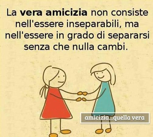 La vera amicizia non consiste nell'essere inseparabili, ma nell'essere in grado di separarsi senza che nulla cambi