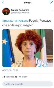 Tweet con l'hashtag #maratonamentana e la foto di Valeria Fedeli
