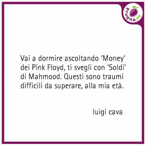 Frase di Luigi Cava prima di dormire sulla vittoria di Mahmood al Festival di Sanremo con 'Soldi'