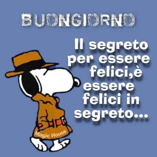 Snoopy ha scoperto il segreto per essere felici