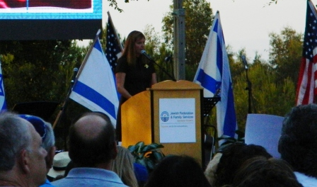 Debbie Margolis speaking at the Rally for Israel