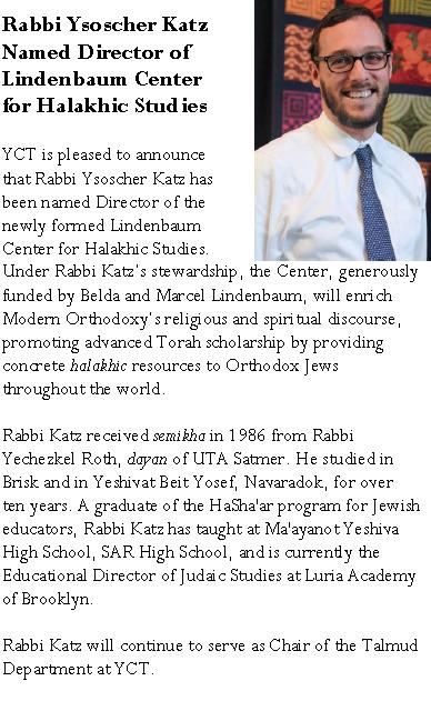 New Center for Halakhic Studies to Open Under the Direction of Rabbi Ysoscher Katz