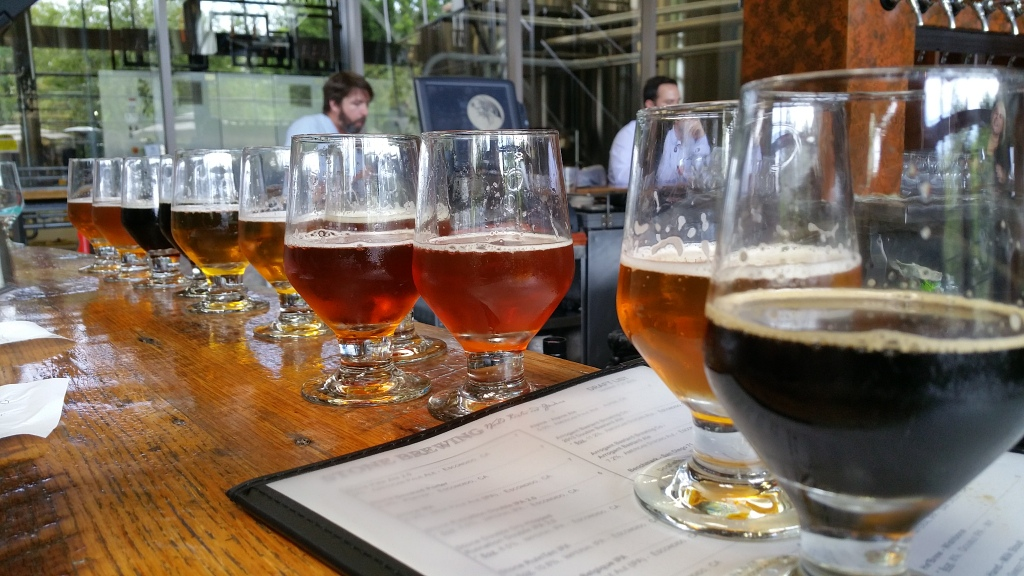 Enjoying a Few Flights of Beer at the Stone Brewing World Bistro & Gardens