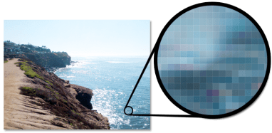 pixels enlarged